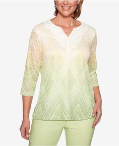 68c78f587df Alfred Dunner Endless Weekend Textured Lace-Neck Top Alfred Dunner,  Polyester Spandex, Lace