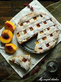 My simple kitchen: Tarta z brzoskwiniami Eat Cake, Simple, Kitchen, Pies, Cooking, Kitchens, Cucina, Stove, Cuisine