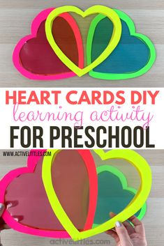 Play to Learn Heart Cards DIY Activity for Preschool - Active Littles Early Learning, Fun Learning, Learning Activities, Activities For Kids, Valentines Day Crafts For Preschoolers, Valentines Day Activities, Crafts For Kids, Preschool Curriculum, Preschool Crafts