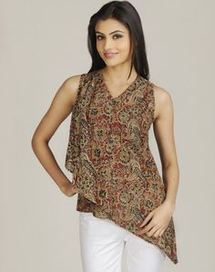 Kalamkari Asymmetrical top
