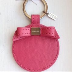 Authentic Coach Keychain Fob NWT Pink Bow~ Authentic Coach Keychain Ring Fob NWT Pink Bow Mirror Coach Accessories Key & Card Holders