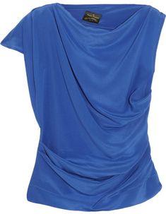 Shaman draped silk crepe de chine top on shopstyle.com