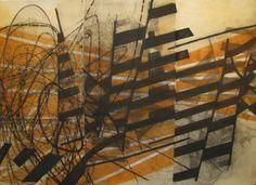 Sarah Amos, Meandering Deviation 89 x 59 cm, Collagraph, 2009