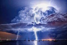 Lightning illuminates cumulonimbus clouds