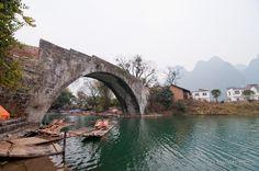 600 year old Dragon Bridge in Yangshuo, China