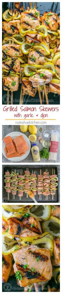 Easy grilled salmon skewers with garlic & dijon. Juicy with incredible flavor & . Easy grilled salmon skewers with garlic & dijon. Juicy with incredible flavor & takes less than 30 minutes ~ KEEPER! Seafood Dishes, Seafood Recipes, Cooking Recipes, Healthy Recipes, Seafood Bbq, Grilled Seafood, Recipes Dinner, Grilled Calamari, Easy Bbq Recipes