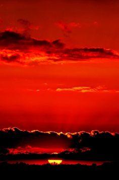 Sunset in Dark Red