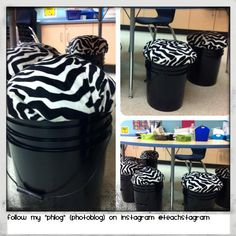 "My DIY/Pinterest inspired bucket stools!!! No sewing or cutting plywood!!!! They are cheap, easy and comfy!!!!  Buckets, lids, stuffing and zebra pillowcases are from Walmart. 1) Spray paint the buckets. 2) cut pillowcases in half and stuff with polyester stuffing 3) wrap stuffed pillowcase around lid and snap on (with gusto!!!) Follow my class ""phlog"" (photo blog) on instagram! @teachstagram"