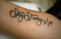 lifeline tattoo with stay strong words