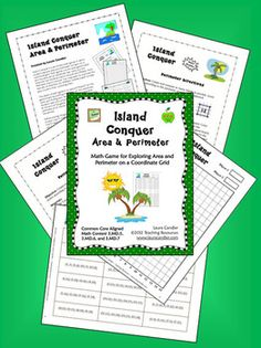 FREE Island Conquer Area and Perimeter Math Game - CCSS Aligned with 3.MD.5, 3.MD.6, and 3.MD.7 and also works as an area and perimeter review in 4th and 5th grade - Great for math centers and partner practice!
