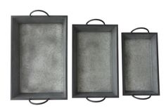 3 Piece Metal Tapered Tray Set with Side Handles
