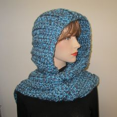 Holiday Sale, Denim and Sky Blue Hooded Scarf, Long Fall Scarf, Hoodie Scarf, Blue Scarf, Crochet Hoodie, Oversized Scarf, Elizabeth B4-047 by CeciliaAnnDesigns on Etsy