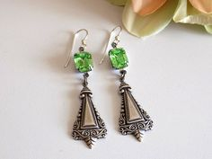Peridot Earrings Swarovski Dangle Earrings by  TreasuresofJewels #jewelry #peridot #earrings