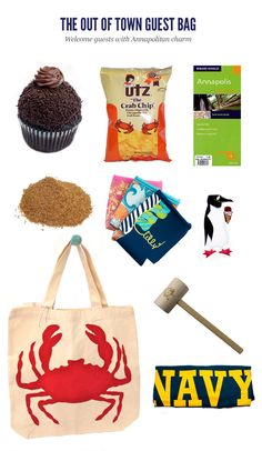 Ideas for out of town guest bags -  except replace Annapolis with Baltimore