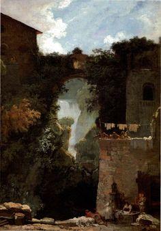 "Peinture française : ""La grande cascade de Tivoli"", Fragonard, 18e siècle"