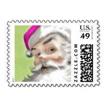 Pink Santa Postage Stamp