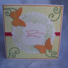 Butterfly Thank You Card by Handcrafted by Jo