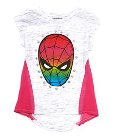 Look at this Pink & Gray Spider-Man Hi-Low Top - Girls on #zulily today!