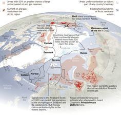 Countries claiming the Arctic in pursuit of undiscovered oil and gas.