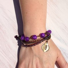 Purple glass bead rustic-style brass bracelet. Has extension for any wrist size x Only £12 x