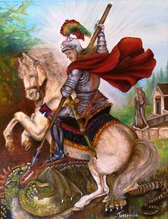 The Preschool cloud: San Jorge - Saint George Saint George And The Dragon, Catholic Saints, Illuminated Manuscript, Religious Art, Occult, Knight, Animation, Clouds, Nature