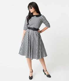 020ff094a7a3 Black & White Gingham Cotton Half Sleeve Emily Swing Dress – Unique Vintage
