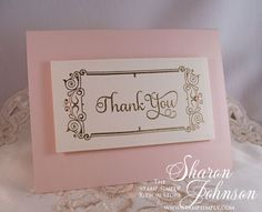 Clean and simple bridal shower thank you note. Products from The Stamp Simply Ribbon Store.
