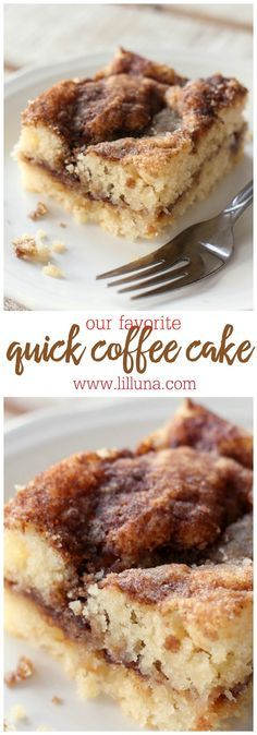 The BEST and EASIEST Coffee Cake Recipe! { lilluna.com } Super moist and delicious! cake covered in cinnamon and brown sugar!
