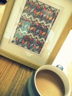 Coffee and Art, Framed Art Piece in Pen and Pencil