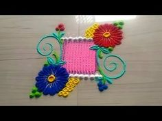 2 minutes rangoli design series easy and simple method in unique style by Jyoti Rathod Easy Rangoli Designs Videos, Rangoli Designs Flower, Small Rangoli Design, Rangoli Ideas, Flower Rangoli, Beautiful Rangoli Designs, New Year Rangoli, Diwali Rangoli, Thali Decoration Ideas