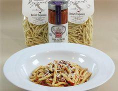 Busiati Trapanesi. (Pasta with tomatoes & eggplant)