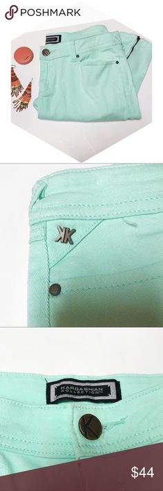 Kardashian Kollection Sea Green Skinny Jeans These fun, sea green Kardashian Kollection skinny jeans feature zippers on the side of each ankle. These are so trendy! They are in very good condition and are a size 10! Kardashian Kollection Jeans Skinny