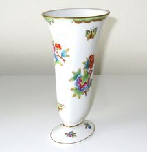 """Herend Vase Porcelain Victoria Pattern Vintage 7.5"""" H  (19 cm), Hungary.................d"""