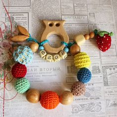 Baby Teether with Wooden Owl Ring Crochet Strawberry Aroma