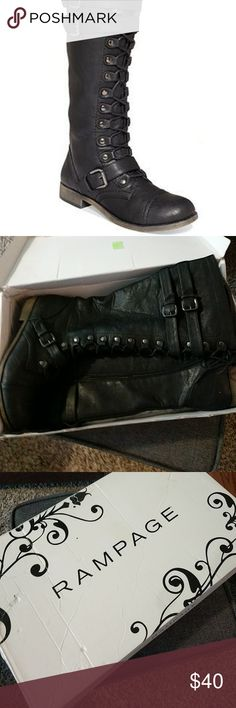 Size 11M Rampage Black Boots Absolutely love these boots! Barely worn.  DON'T FORGET - FREE SHIPPING ON ITEMS OVER $35!  (check out the free shipping item in my closet for more info) Rampage Shoes Lace Up Boots
