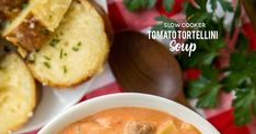 Slow Cooker Tomato Tortellini Soup - seriously delicious! Everyone LOVED this no-fuss soup recipe. Just dump everything in the slow cooker and let it work its magic. Serve soup with some crusty bread for an easy weeknight meal the whole family will enjoy! Chicken broth, tomato soup, diced tomatoes, Italian sausage, chive and onion cream cheese and cheese tortellini combine to make THE BEST tomato soup EVER! Best Tomato Soup, Tomato Tortellini Soup, Canned Tomato Soup, Slow Cooker Steak, Slow Cooker Soup, Crockpot Recipes, Soup Recipes, Cooking Recipes, Slow Cooking