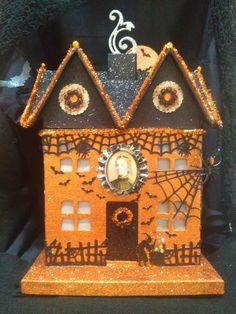 Light Up BIG Halloween Witch Putz Glitter Village House With Video Description. $119.00, via Etsy.