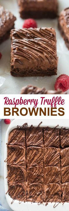 Raspberry Truffle Brownies are decadent and completely heavenly! A fudgy chocolate brownie with whipped raspberry truffle frosting and melted chocolate drizzled on top.  Every time that I think I've