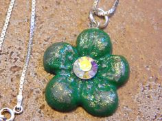 Green and Silver Flower Clay Pendant on Sterling Silver by gr8byz, $26.00 #circle1 #vtgtwit #lovetsy