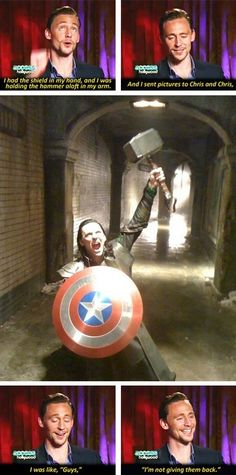 Avengers, Loki Steals Thor's Hammer and Captain America's Shield (Found on Reddit) Tom Hiddleston Interview