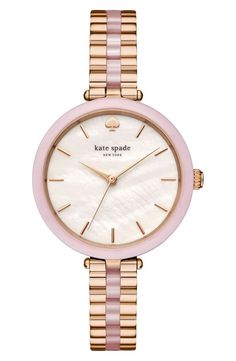 Tonal rose-gold contrast enhances the radiance of this number-free watch by Kate Spade.