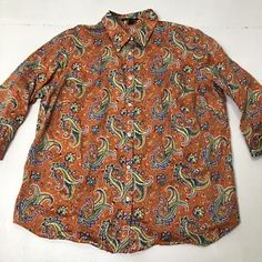 688f50fd1f780d Women's Plus Size 2X Lauren Ralph Lauren Orange Paisley Print Button Down  Shirt   eBay Print