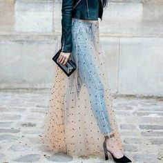 2017 2018 High Street Fashion Illusion Overlayer Tulle Skirts For Lady Dots Pattern Sheer Long Champagne Tulle Skirt Women -in Skirts from Women's Clothing & Accessories on Aliexpress.com | Alibaba Group