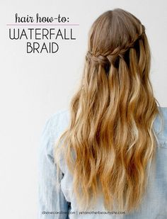 Tweak the traditional braid and this is what you get: the Waterfall Braid. Despite looking intricate, it's supposedly very easy to do.