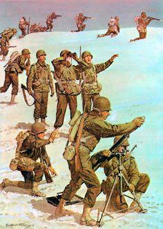 "Brazil Regimental Combat Team at Monte Castello, Italy"" Military Art, Military History, Ww2 Uniforms, Propaganda Art, Ww2 History, Korean War, American Soldiers, World War Two, American History"