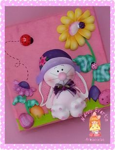 Resultado de imagen para tapas de cuadernos en goma eva Foam Crafts, Diy And Crafts, Painted Rocking Chairs, Class Decoration, Cold Porcelain, Fabric Dolls, Paper Piecing, Easter Crafts, Happy Easter