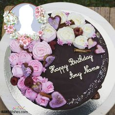 Floral Chocolate Birthday Cake With Name Flowers Cake Name Cake