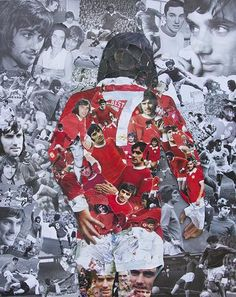 size - 105 x (approx 4 x 6 inches) 4 page greeting card featuring the George Best collage by artist John Kerr. The collage is made from of ripped up pictures of George Best. Pop Art Collage, Collage Design, Collage Background, Manchester United Wallpaper, Manchester United Football, John Kerr, Football Art, Football Posters, Sports Posters