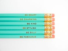 I love the fact these reminders are so gentle. Gentle Reminders Pencils- Aqua and Gold, Set of 6
