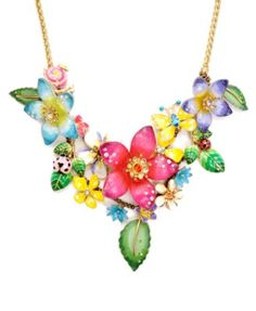 Betsey Johnson Necklace, Flower Cluster Statement Necklace from Macys - Perfect to add color to any outfit